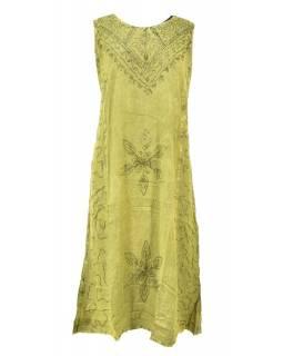 Dlouhé zelené šaty bez rukávu, výšivka