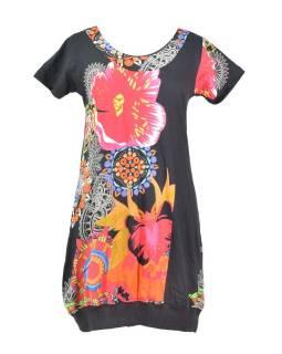 Černé balonové šaty s krátkým rukávem a potiskem květin