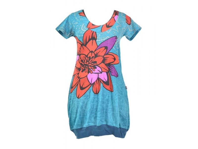 Tyrkysové balonové šaty s krátkým rukávem a potiskem květiny