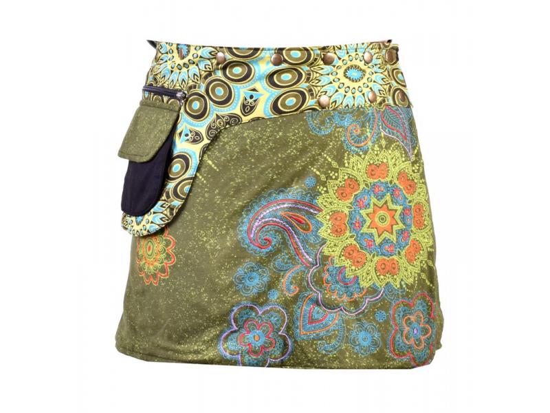 Krátká khaki sukně zapínaná na patentky, kapsa, flower potisk a výšivka