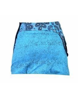 Krátká tyrkysová sukně zapínaná na patentky, kapsa, flower potisk a výšivka