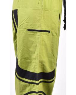 Unisex turecké kalhoty s kapsami, zelené, černé lemování