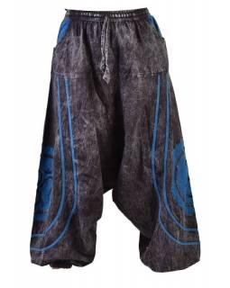 Unisex turecké kalhoty s kapsami, černo-modré, Óm