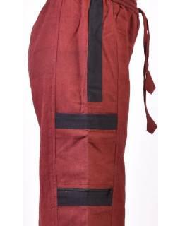 Unisex turecké kalhoty s kapsami, černo-vínové