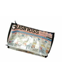 Neceser, recyklovaný plast, noviny, 14x28x6cm, zip