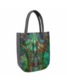 Velká filcová kabelka z recyklovaného materiálu, potisk Smaragd, 45x35cm
