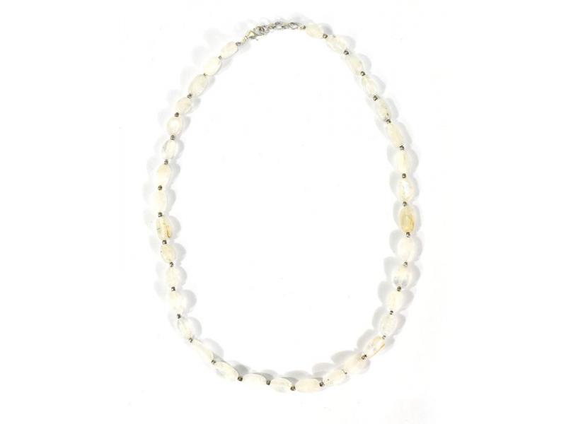Zapínací náhrdelník s korálky z měsíčního kamene, postříbřený (10µm), 44cm