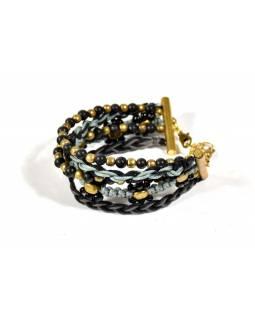 Černo-šedý pletený náramek s korálky, zlatý kov
