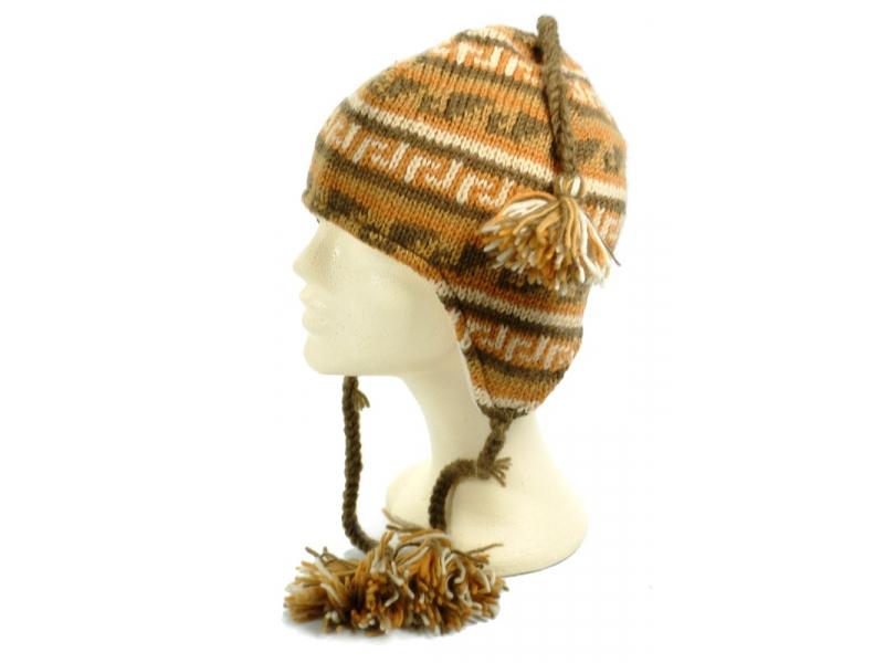 Čepice, uši, copánky, -písková, béžová-,vlna, podšívka