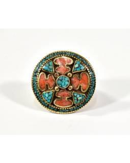 Masivní prsten vykládaný pohodrahokamy, tibetský design, ruční práce vel.63