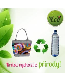 Velká filcová kabelka z recyklovaného materiálu, potisk Etnik, 45x35cm