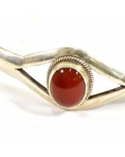 Stříbrný náramek vykládaný oranžovým onyxem, nastavitelná velikost, AG 925/1000