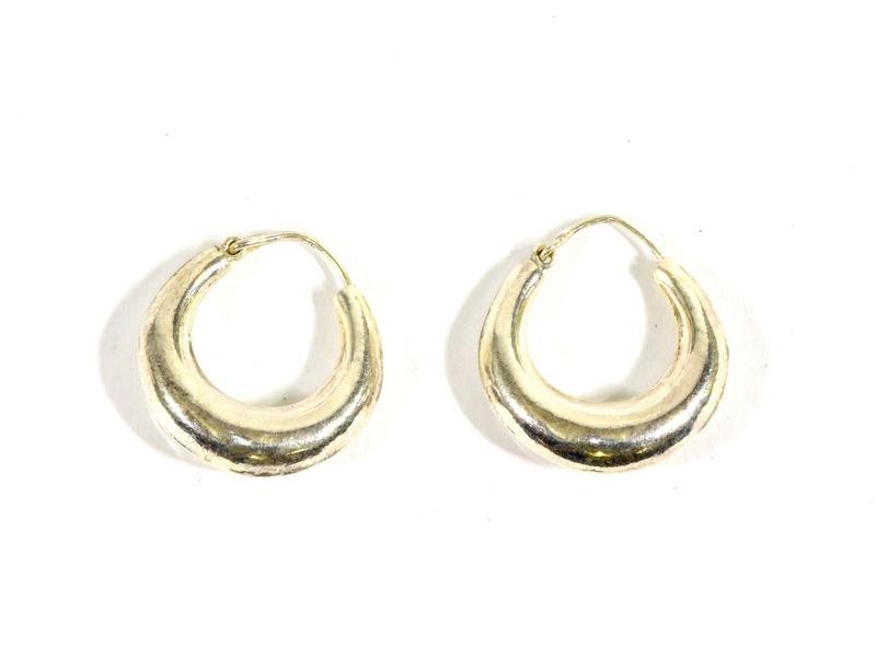 Visací stříbrné kruhové náušnice, průměr cca 2cm, AG 925/1000, Nepál