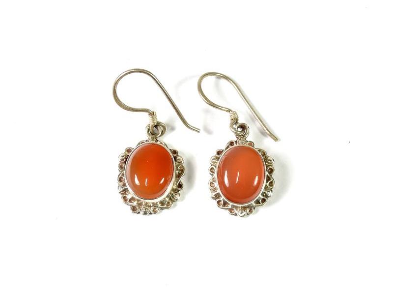 Stříbrné visací náušnice vykládané oranžovým onyxem, AG 925/1000