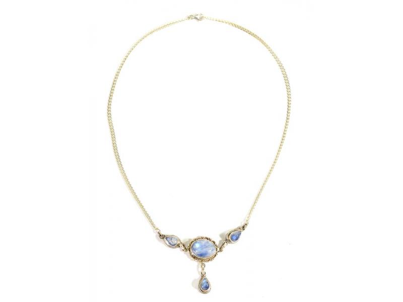 Stříbrný náhrdelník vykládaný měsíčním kamenem, karabinka, délka cca 46cm, AG