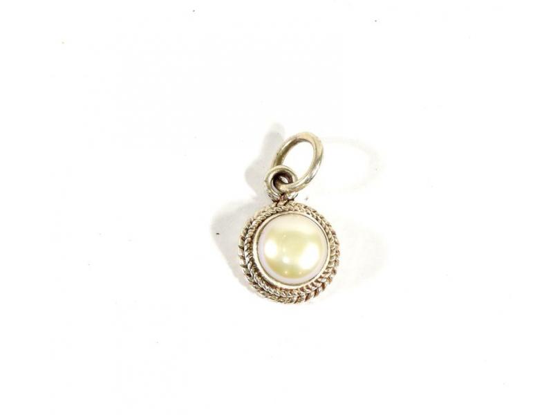 Stříbrný přívěsek vykládaný perlou, perla cca 1 cm, AG 925/1000