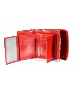 """Velká peněženka design """"Two Cats"""", ručně malovaná kůže, červená,15x11cm"""
