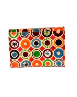 """Velká peněženka design """"Colord circles"""", ručně malovaná kůže, červená,15x11cm"""