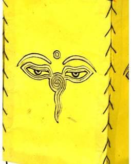 Stínidlo, čtyřboké, žluté, zlatý tisk, buddhovi oči, 18x25cm