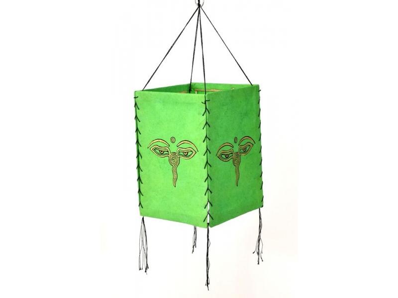 Stínidlo, čtyřboké,zelené, zlatý tisk, buddhovi oči, 18x25cm