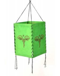 Stínidlo, čtyřboké, zelené, zlatý tisk, buddhovi oči, 18x25cm