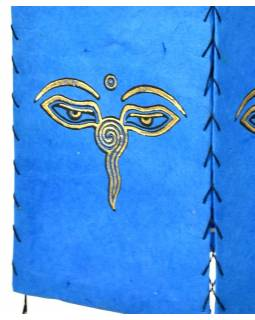 Stínidlo, čtyřboké, modré, zlatý tisk, buddhovi oči, 18x25cm
