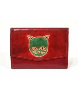 Peněženka zapínaná na patentku, červená, kočka, malovaná kůže, 13x9cm