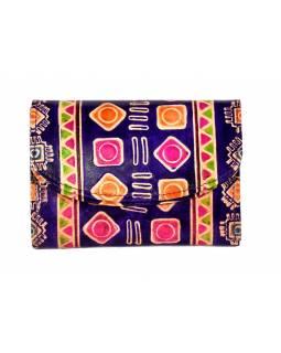 """Velká peněženka design """"Indian"""", ručně malovaná kůže, fialová,15x11cm"""