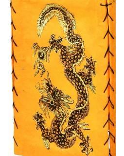 Čtyřboký lampion - stínidlo se zlatým potiskem draka, oranžová, 18x25cm