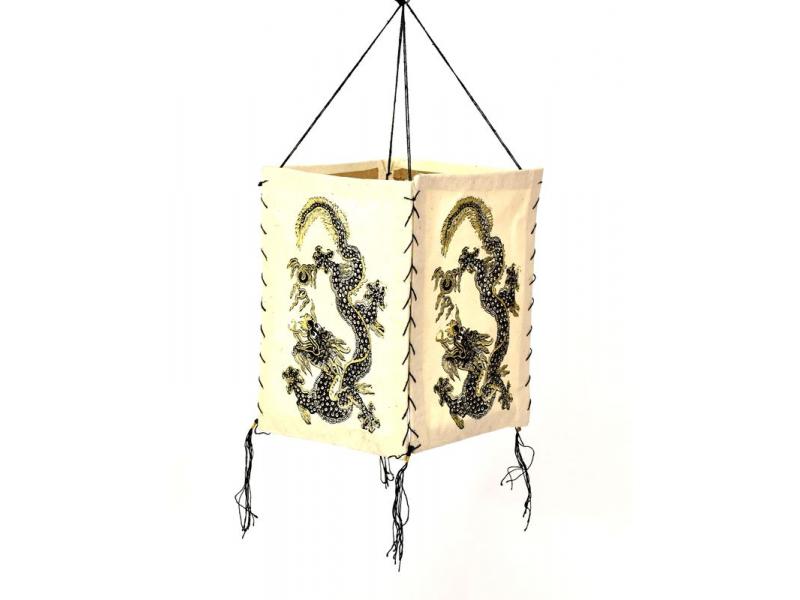 Čtyřboký lampion - stínidlo se zlatým potiskem draka, bílé, 18x25cm