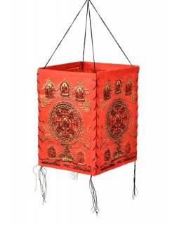 Stínidlo, čtyřboké, červené se zlatým potiskem, 18x25cm