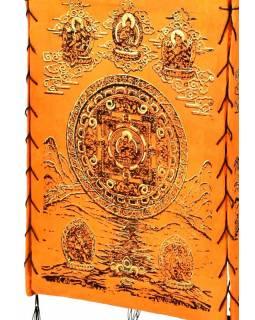Stínidlo, čtyřboké, oranžové se zlatým potiskem Mandala s Buddhou, 18x25cm