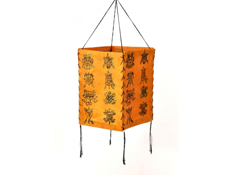 Stínidlo, čtyřboké, oranžové se zlatým potiskem Astamangal, 18x25cm