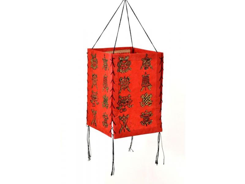 Stínidlo, čtyřboké, červené se zlatým potiskem Astamangal, 18x25cm