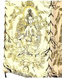Stínidlo, čtyřboké bílé se zlato-černým potiskem Zelené Táry, 18x25cm
