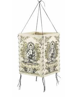 Stínidlo, čtyřboké bílé se zlato-černým potiskem Buddhy, 18x25cm