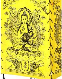 Stínidlo, čtyřboké žluté se zlato-černým potiskem Buddhy, 18x25cm