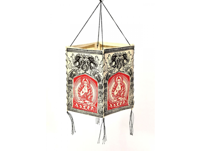 Stínidlo, čtyřboké bílé s červeno-černým potiskem Buddhy a draků, 18x25cm