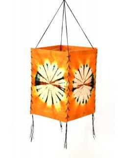 Stínidlo, oranžové, čtyřboké, batika kruh, barvený rýžový papír, 18x26cm