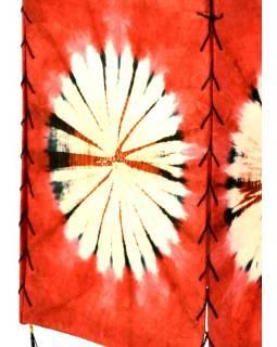 Stínidlo, červené, čtyřboké, batika kruh, barvený rýžový papír, 18x26cm