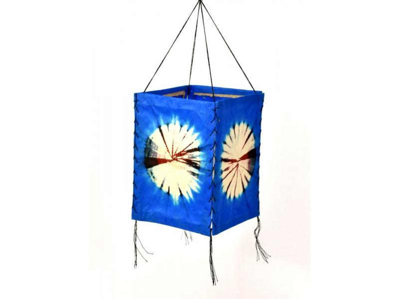 Stínidlo, modré, čtyřboké, batika kruh, barvený rýžový papír, 18x26cm