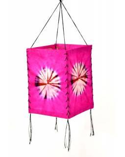 Stínidlo, růžové, čtyřboké, batika kruh, barvený rýžový papír, 18x26cm