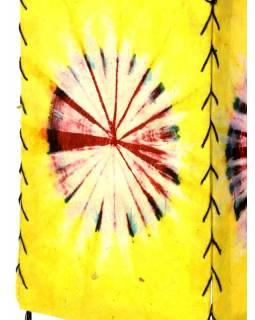 Stínidlo, žluté, čtyřboké, batika kruh, barvený rýžový papír, 18x26cm