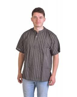 Pruhovaná pánská košile-kurta s krátkým rukávem a kapsičkou, šedo černá