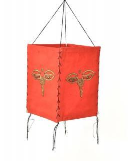 Stínidlo, čtyřboké,červené, zlatý tisk, buddhovi oči, 18x25cm