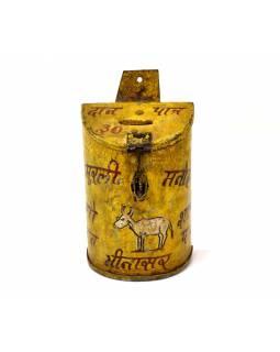 Antik plechová kasička, ručně malovaná, 11x10x20cm