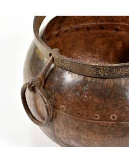 Stará kovová nádoba, kotlík, 27x28x23cm