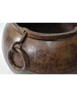 Stará kovová nádoba, kotlík, 28x29x24cm