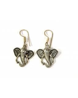Visací náušnice Slon, stříbrný kov