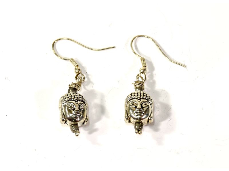 Visací náušnice Buddhova hlava, stříbrný kov